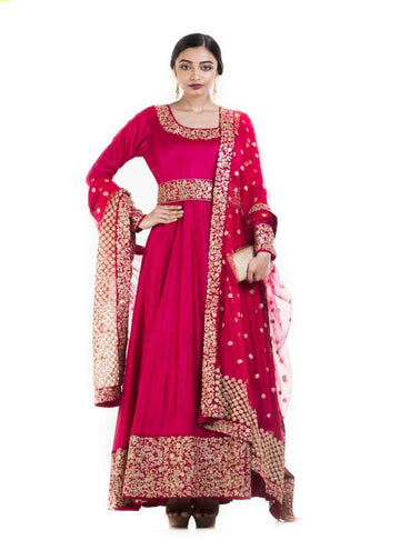 Amazing Red Color Chanderi Fabric Wedding Suits