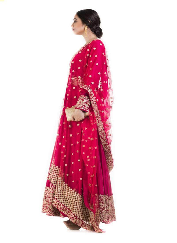 Amazing Red Color Chanderi Fabric Wedding Suit