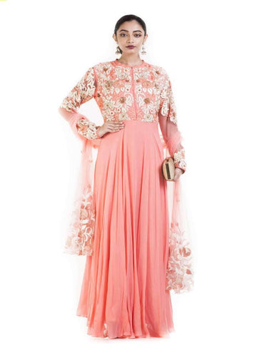 Amazing Peach Color Georgette Fabric Gown