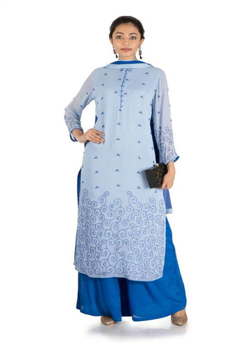 Adorable Blue Color Georgette Fabric Salwar Kameez