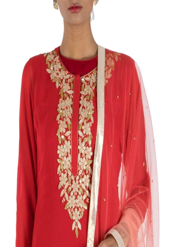 Adorable Red Color Georgette Fabric Salwar Kameez