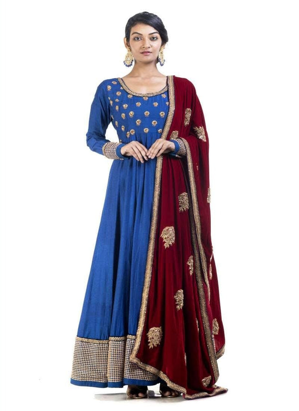 Sensational Blue Color Georgette Fabric Gown