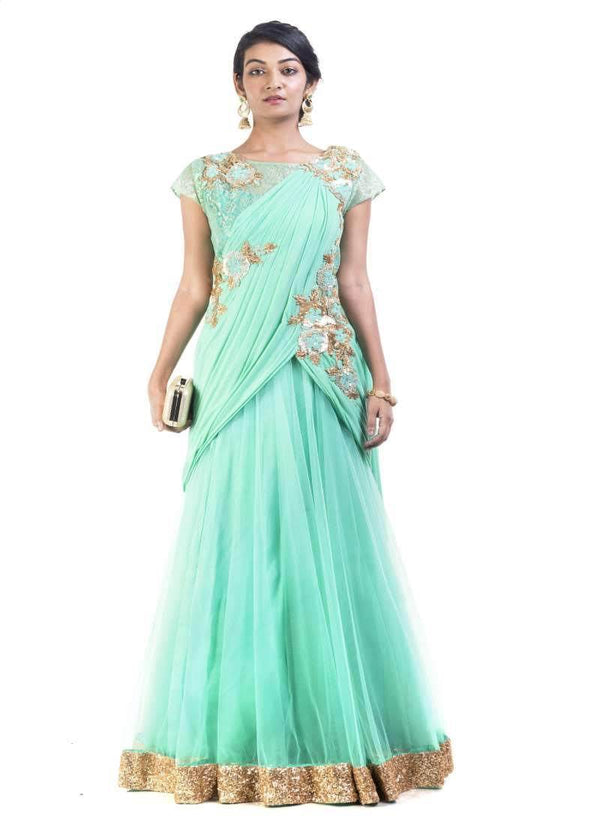Sensational Turquoise Color Net Fabric Gown