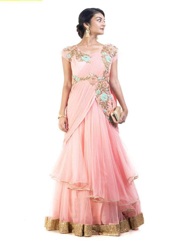 Sensational Pink Color Net Fabric Gown