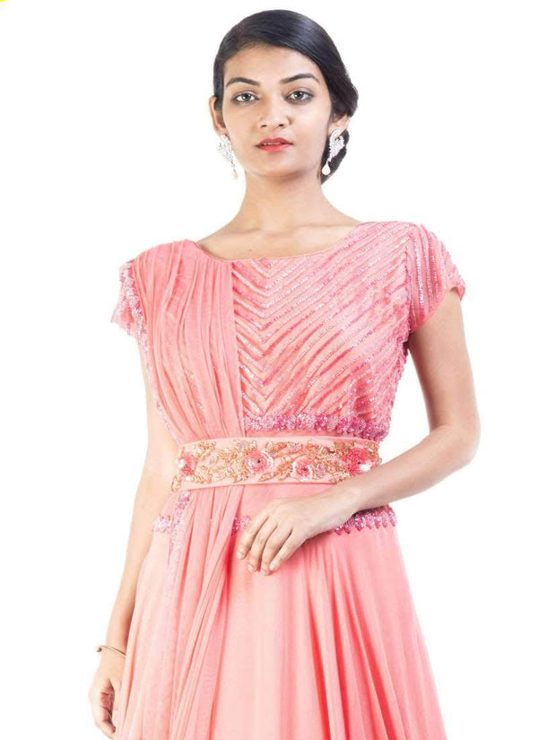 Adorable Coral Color Georgette Fabric Gown