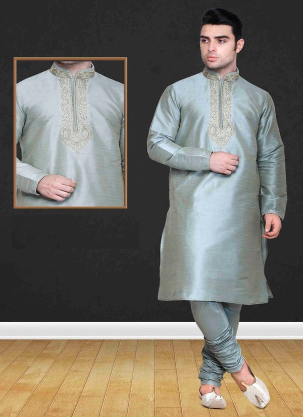 Stylish Grey Color Silk Fabric Mens Wear