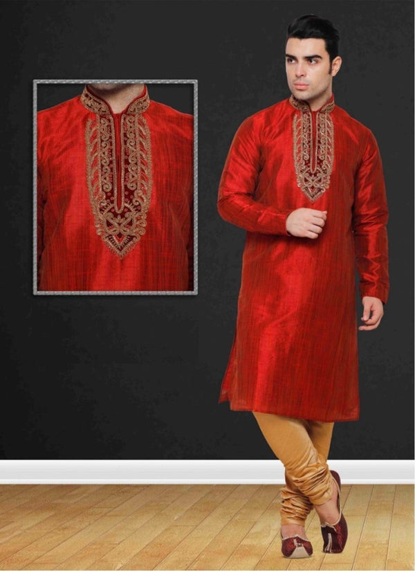 Stylish Red Color Silk Fabric Mens Wear