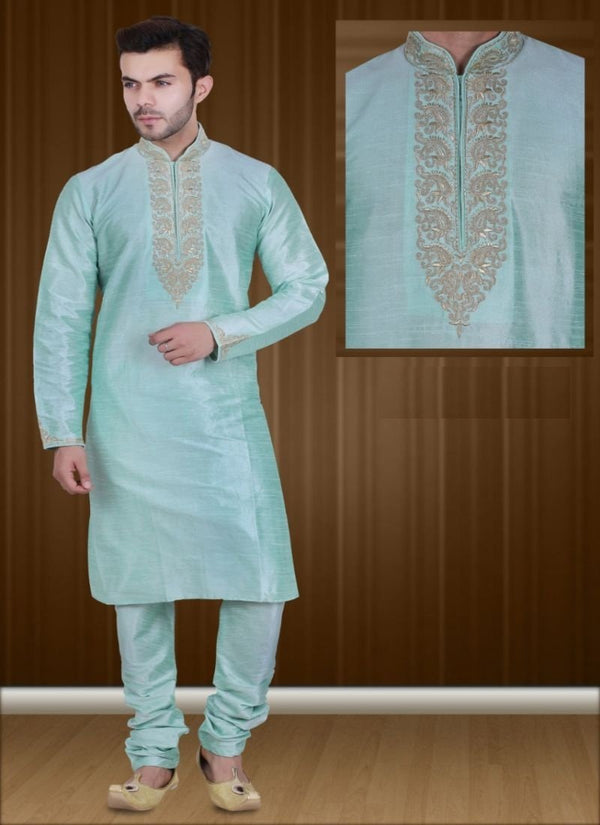 Impactful Aqua Color Art Raw Silk Fabric Kurta Pajama