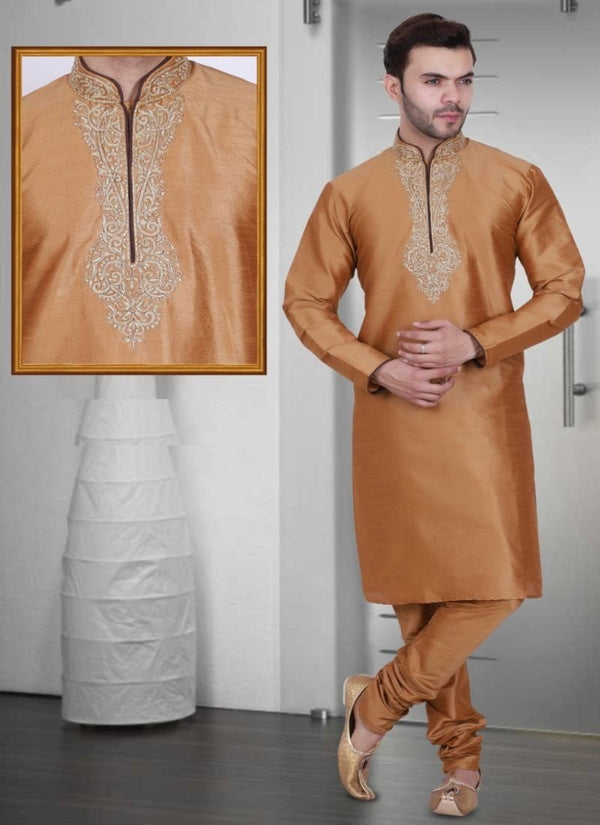 Impactful Brown Color Art Raw Silk Fabric Kurta Pajama