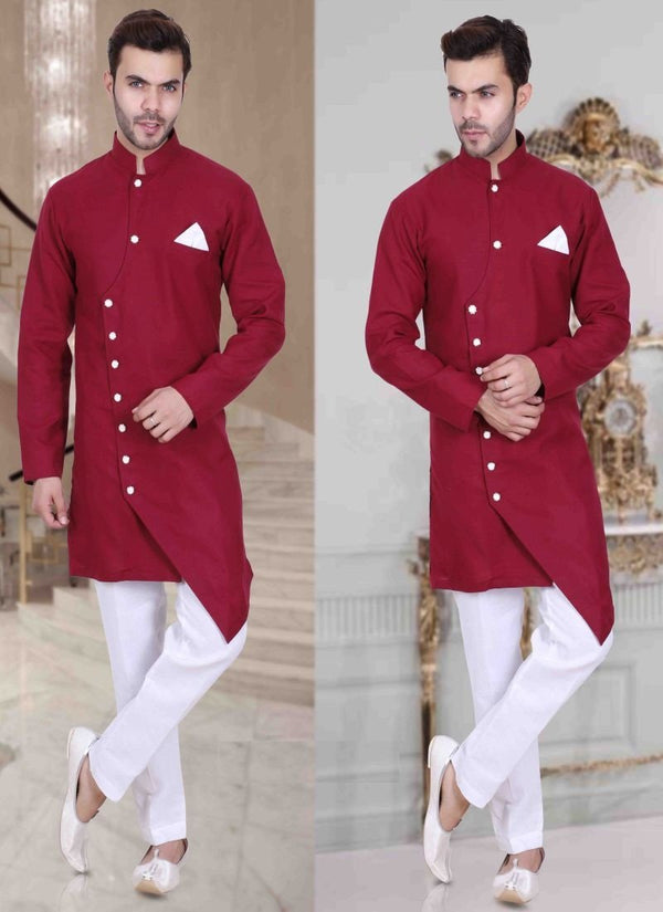 Impactful Red Color Art Raw Silk Fabric Indowestern