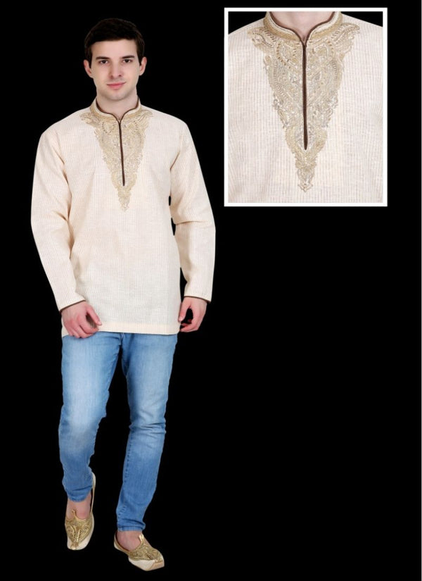 Elegant Cream Color Cotton Fabric Mens Wear
