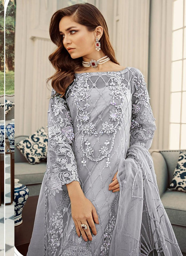 Impressive Grey Color Net Fabric Designer Suit