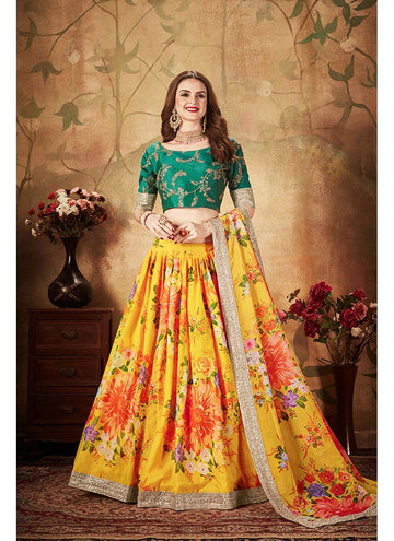 Stupendous Yellow Color Organza Fabric Party Wear Lehenga