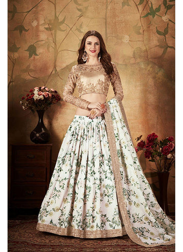 Stupendous White Color Organza Fabric Party Wear Lehenga