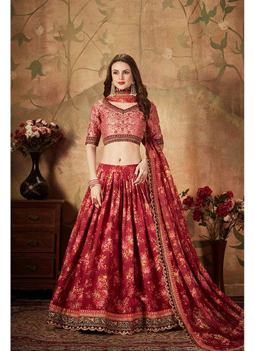 Stupendous Maroon Color Organza Fabric Party Wear Lehenga