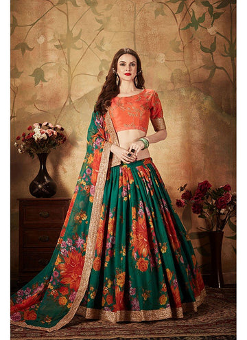 Stupendous Green Color Organza Fabric Party Wear Lehenga