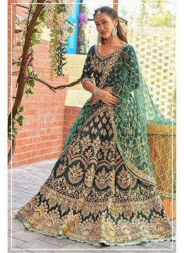 Influential Green Color Chennai Silk Fabric Party Wear Lehenga