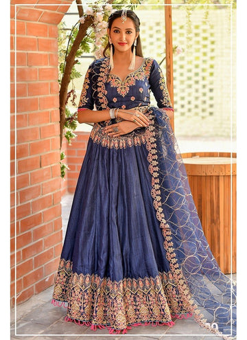 Influential Blue Color Chennai Silk Fabric Party Wear Lehenga