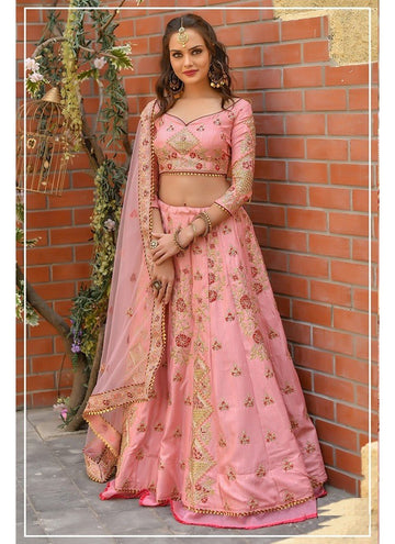 Influential Pink Color Chennai Silk Fabric Party Wear Lehenga