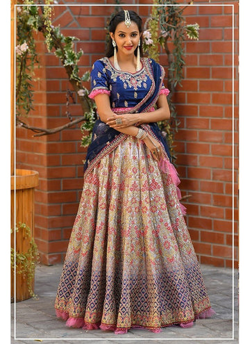 Influential Blue Color Malai Satin Fabric Party Wear Lehenga