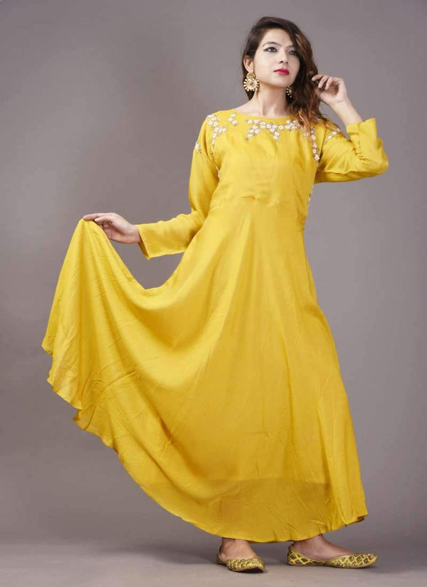Adorable Yellow Color Muslin Fabric Flared Dress