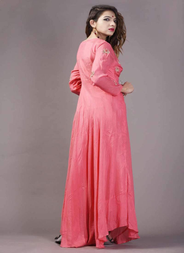 Adorable Coral Color Muslin Fabric Gown