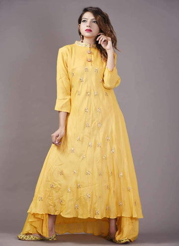 Adorable Yellow Color Georgette Fabric Gown