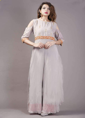 Adorable Grey Color Muslin Fabric Long Dress