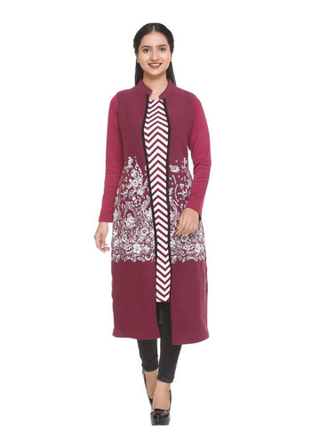 Winsome Wine Color Polyester Fabric Designer Kurti