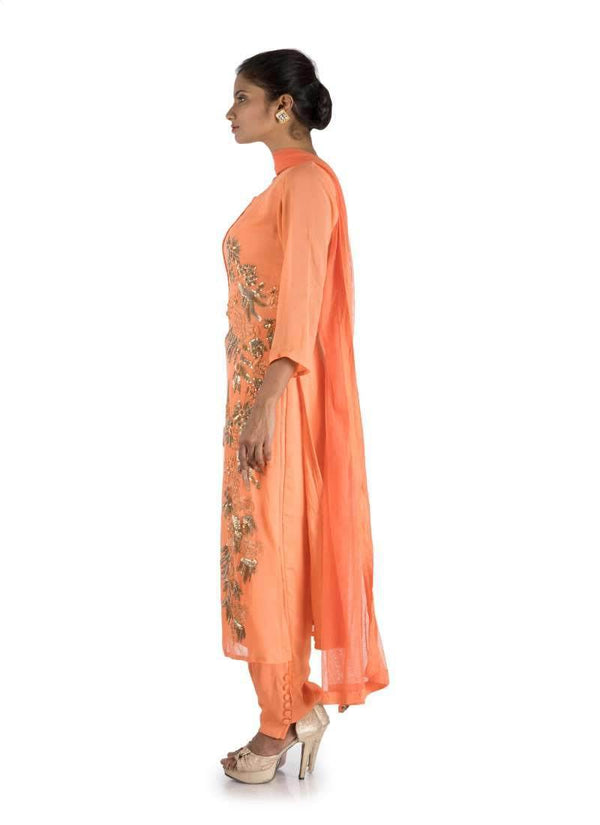 Adorable Orange Color Georgette Fabric Salwar Kameez