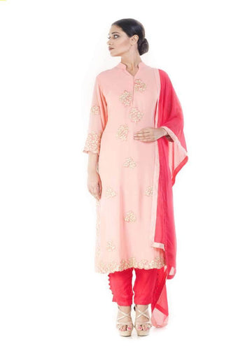 Marvelous Pink Color Georgette Fabric Partywear Suits