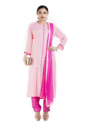 Amazing Pink Color Georgette Fabric Partywear Suits