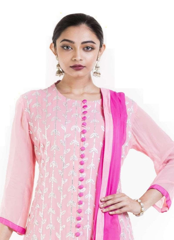 Amazing Pink Color Georgette Fabric Partywear Suit