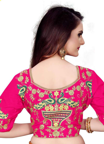 Charming Pink Color Silk Fabric Blouse
