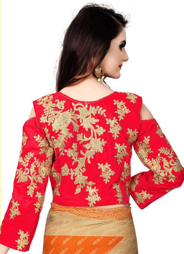 Charming Red Color Silk Fabric Blouse