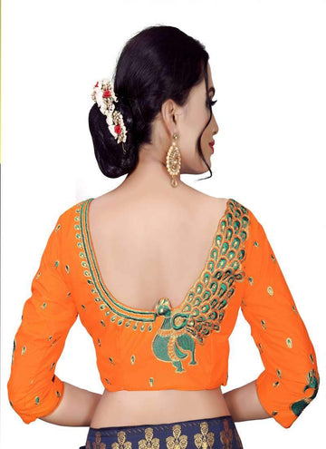Charming Orange Color Silk Fabric Blouse