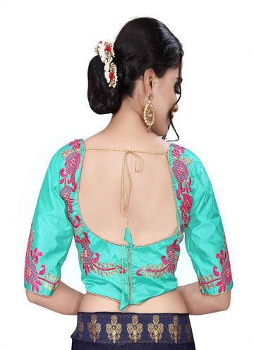 Charming Aqua Color Silk Fabric Blouse