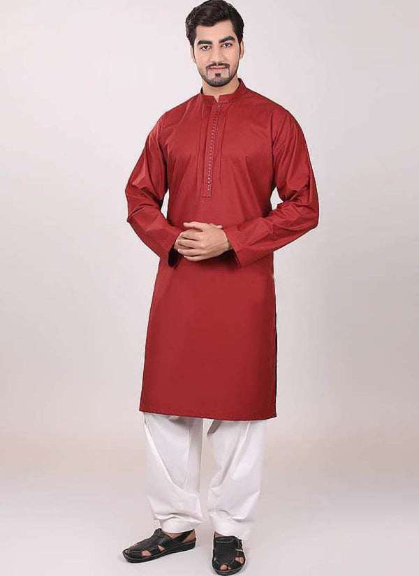 Decent Red Color Cotton Fabric Mens Wear