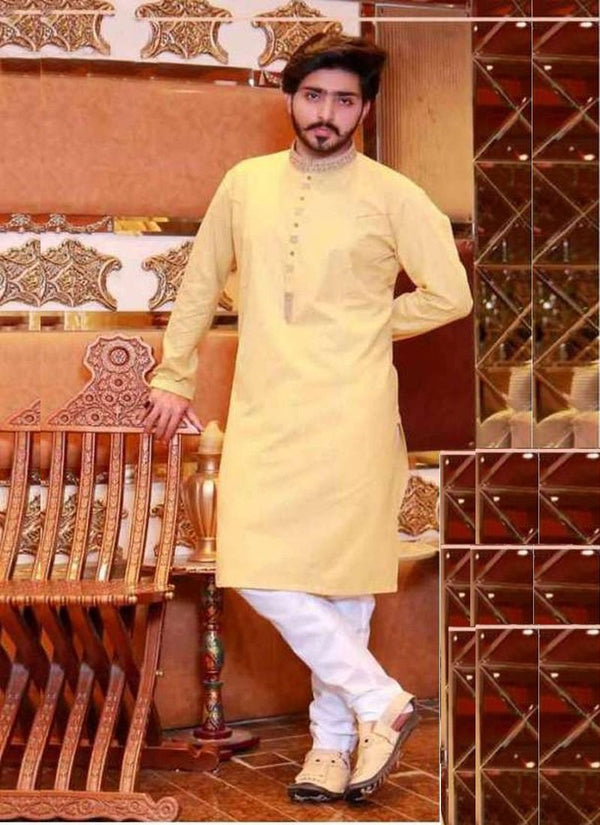 Decent Yellow Color Cotton Fabric Mens Wear