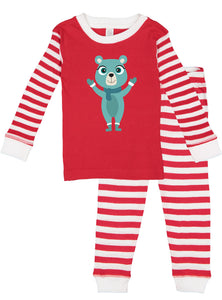 Kritter Christmas Blue Bear Candy Cane Infant/ Toddler Pajamas - Kritter Haus