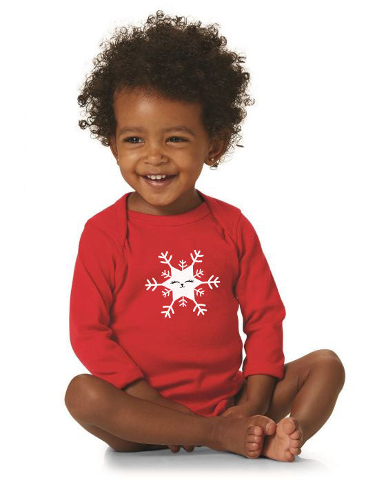 Kritter Christmas Cat Snowflake Long Sleeve Bodysuit - Kritter Haus