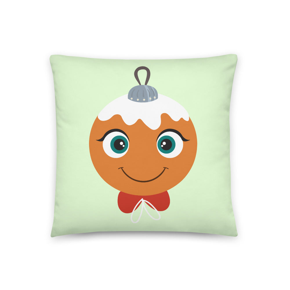 Kritter Christmas Gingerbread Ornament Reversible Throw Pillow- Green - Kritter Haus