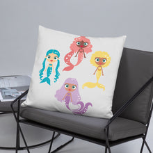 Load image into Gallery viewer, Kritter Mermaid Squad Throw Pillow - Kritter Haus