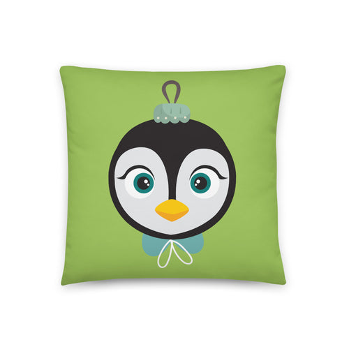 Kritter Christmas Penguin Ornament Reversible Throw Pillow - Green - Kritter Haus