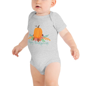 Happy Thanksgiving Graphic Baby Bodysuit  - Pumpkin Patch - Kritter Haus
