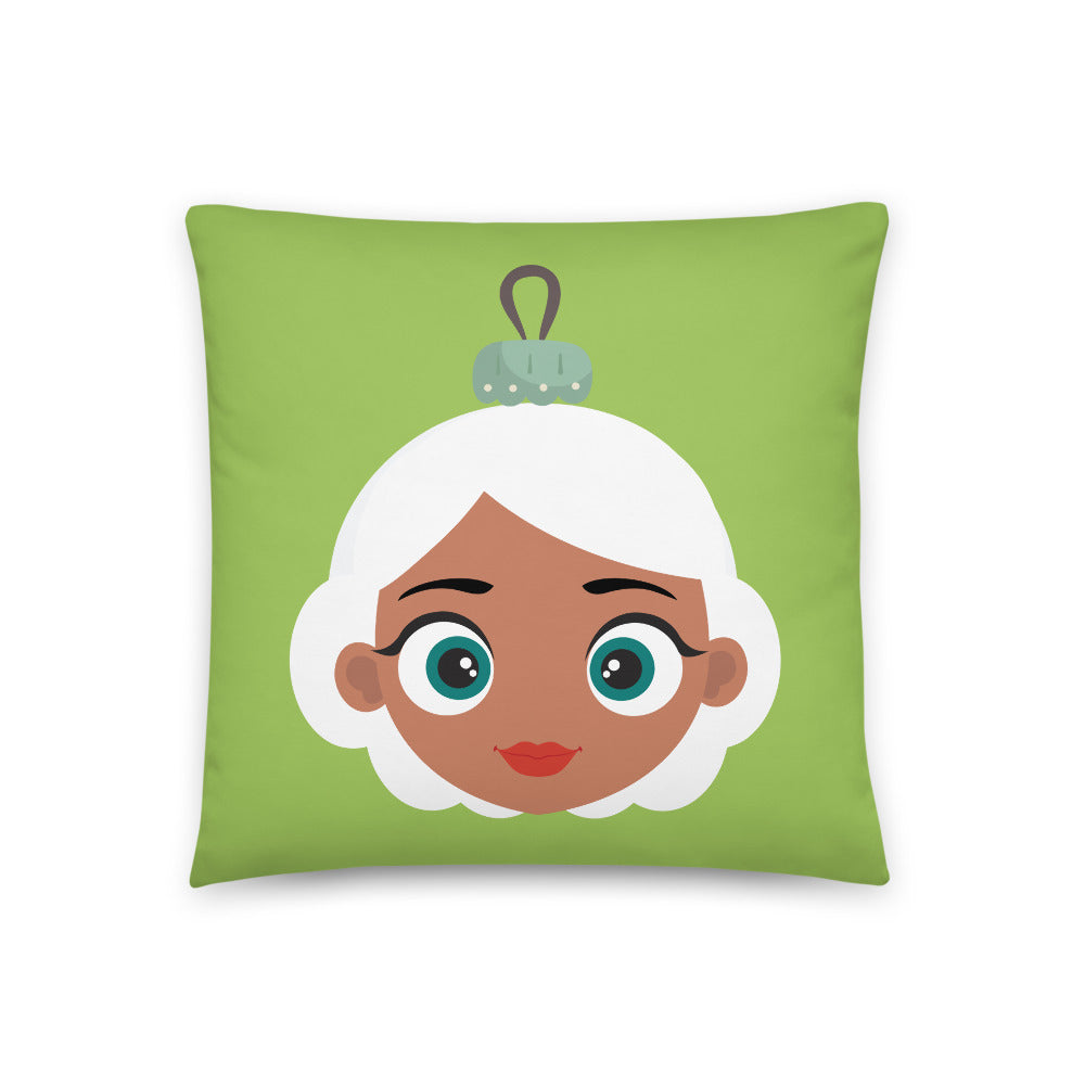 Kritter Christmas Mrs Claus Reversible Throw Pillow- Green - Kritter Haus