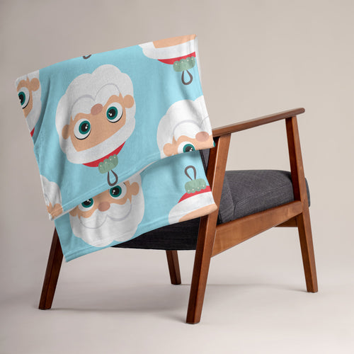 Kritter Christmas Santa Claus Ornament Throw Blanket - Blue - Kritter Haus