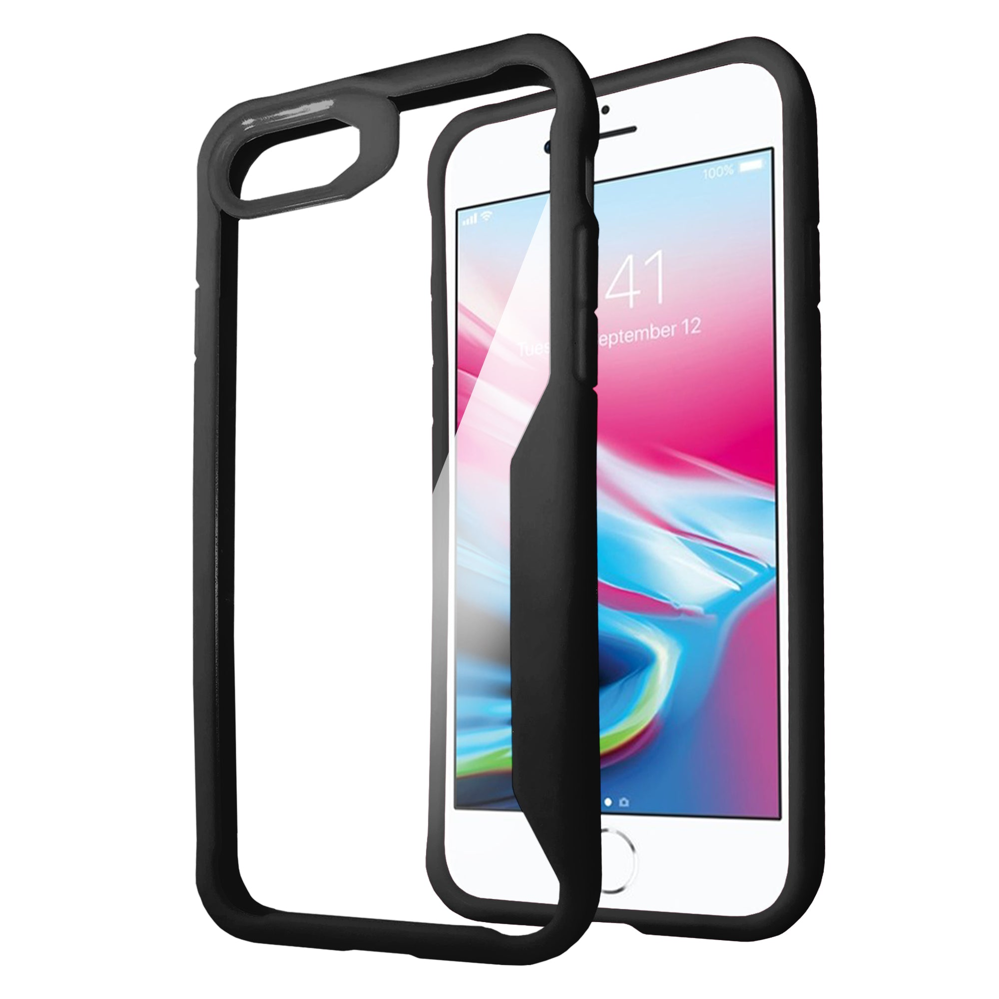 For-Apple-iPhone-7-iPhone-8-Clear-Case-w-Black-Silicone-Edges-Floral-Design thumbnail 3