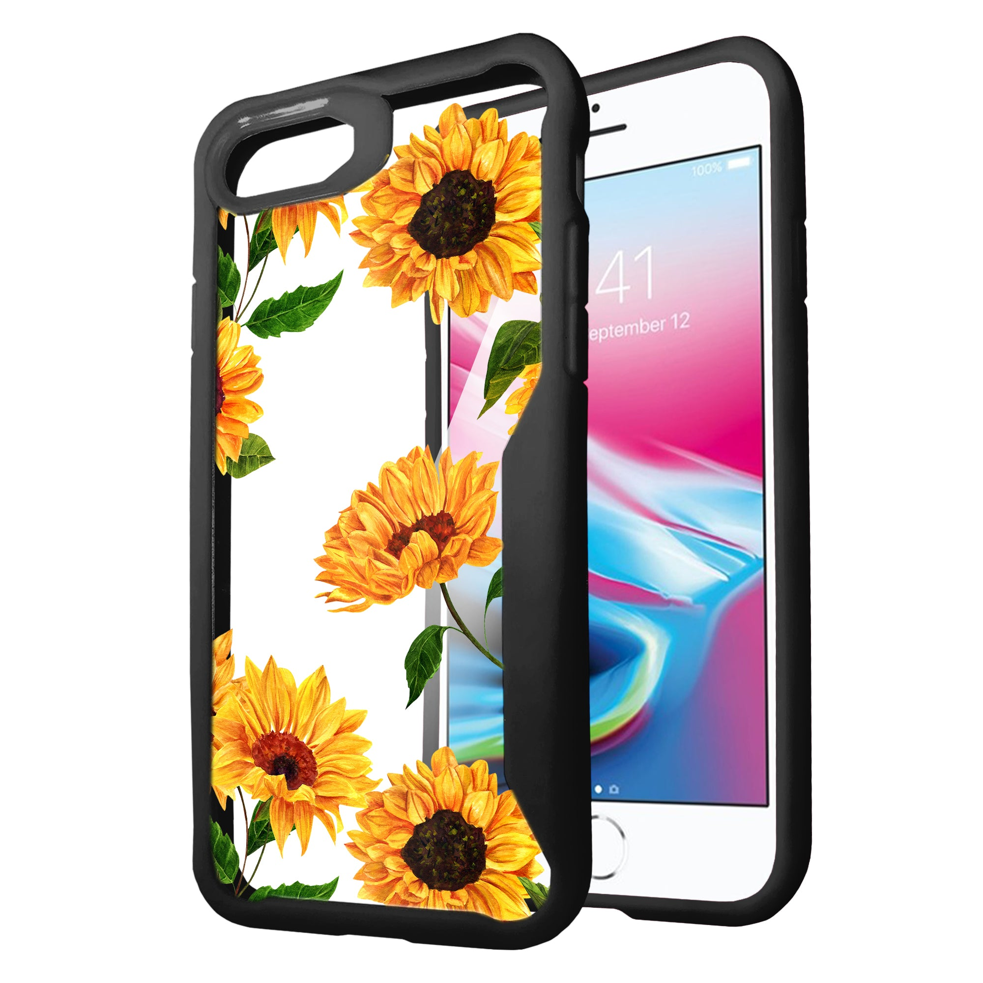 For-Apple-iPhone-7-iPhone-8-Clear-Case-w-Black-Silicone-Edges-Floral-Design thumbnail 7