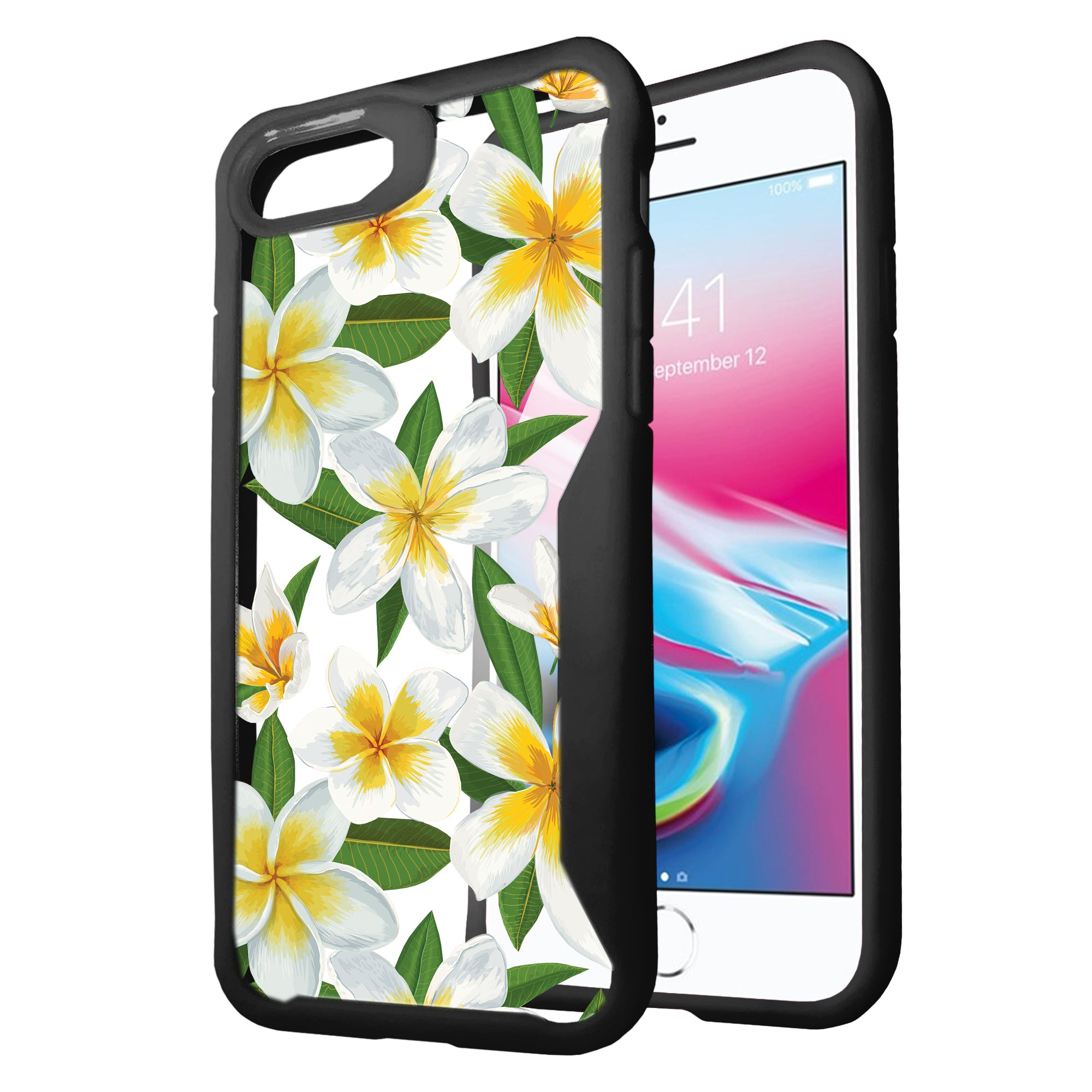 For-Apple-iPhone-8-Plus-Clear-Case-with-Black-Silicone-Edges-Floral-Design thumbnail 5